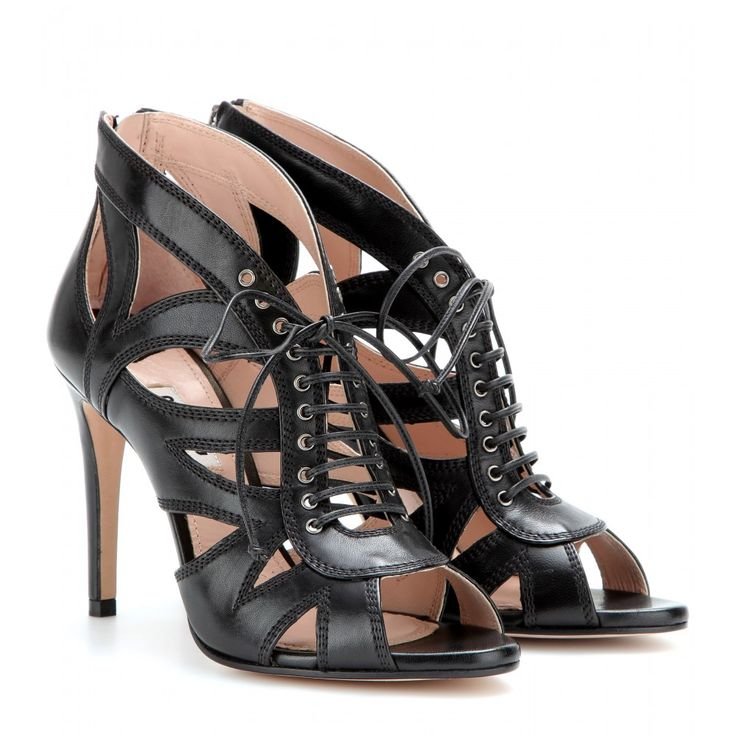 mytheresa.com - Leather lace-up sandals - high heel - booties - shoes - Luxury Fashion for Women / Designer clothing, shoes, bags