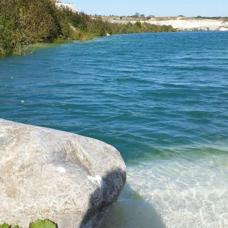 Faxe kalkbrud Denmark blue water