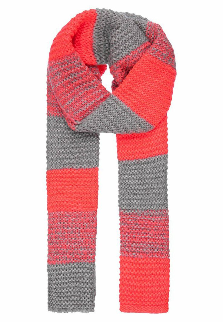 Stripe scarf in orange and grey.