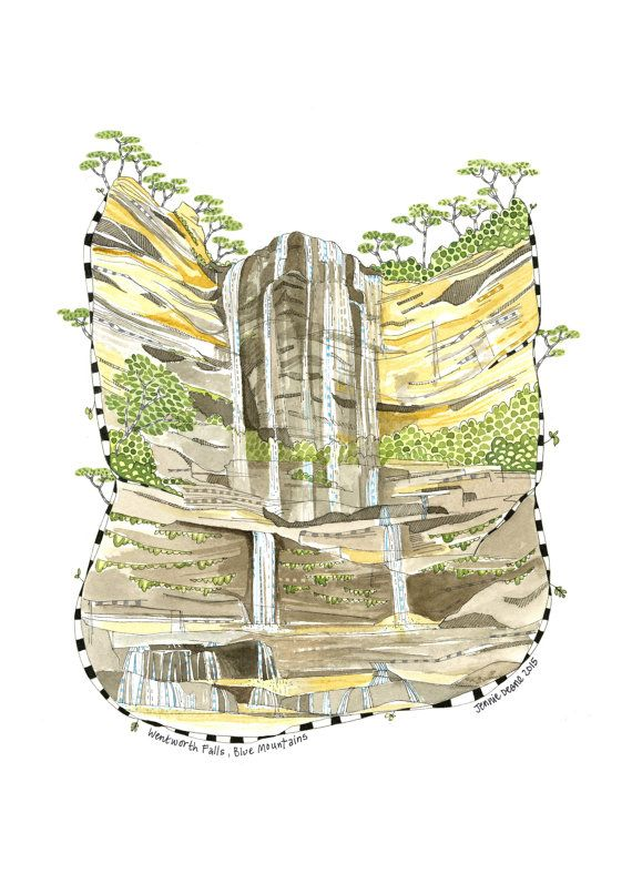 Illustration - Pen and Watercolour,  Wentworth Falls, Australia - Open Edition Print by Jennie Deane