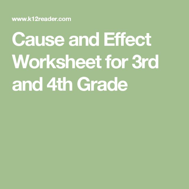 Cause and effect worksheets 4th grade