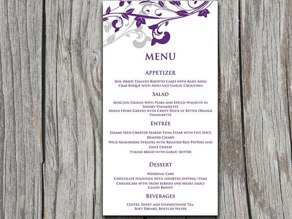 entree card template printable