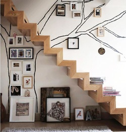 love this idea...would want hand rail for stairs....or just the tree painted on a wall then decorated with family photos...ummmm nice