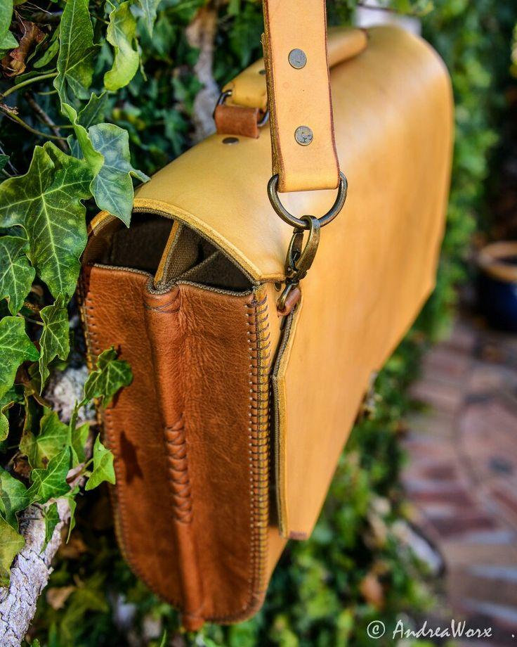 AndreaWorx handmade unique leather twotone hardbody briefcase