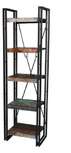 Recycled Timber and Metal Book Shelf with 5 shelves.