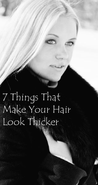 How to get thicker looking hair  I don't have that thick of hair, and when people feel my hair they are always surprised that it's thinner than they expected. So these are some things that I do, and that work. 1. Add a root boost, or gel, or mousse before you blow dry. This is the first …