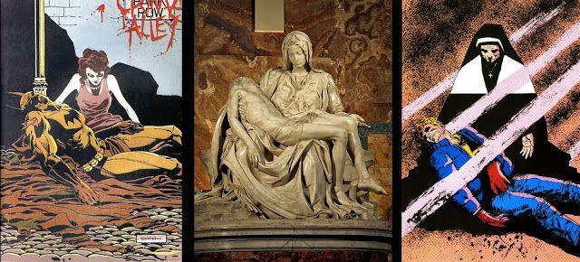 Pieta in the Michalangelo's sculpture, Reborn by Miller (Daredevil) and Batman The Long Halloween http://pharaunmizzrym.blogspot.com/2013/10/batman-the-long-halloween-top-komiks-inspiracje-sztuka-klasyczna-i-literatura-w-komiksach.html