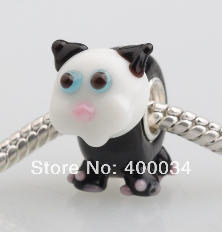 Черная кошка с белой головой стеклянные бусины , пригодный для 3 мм европейская мода ювелирных изделий и компоненты