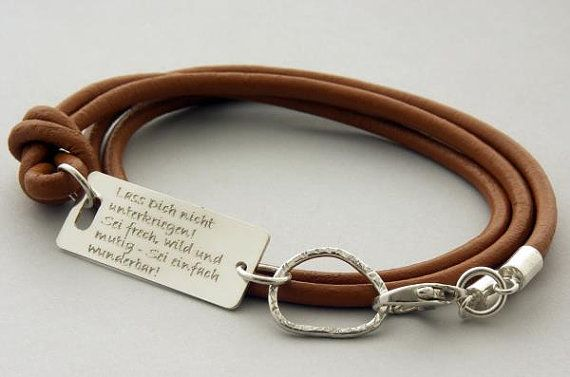 sterling silver leather inspirational quote bracelet