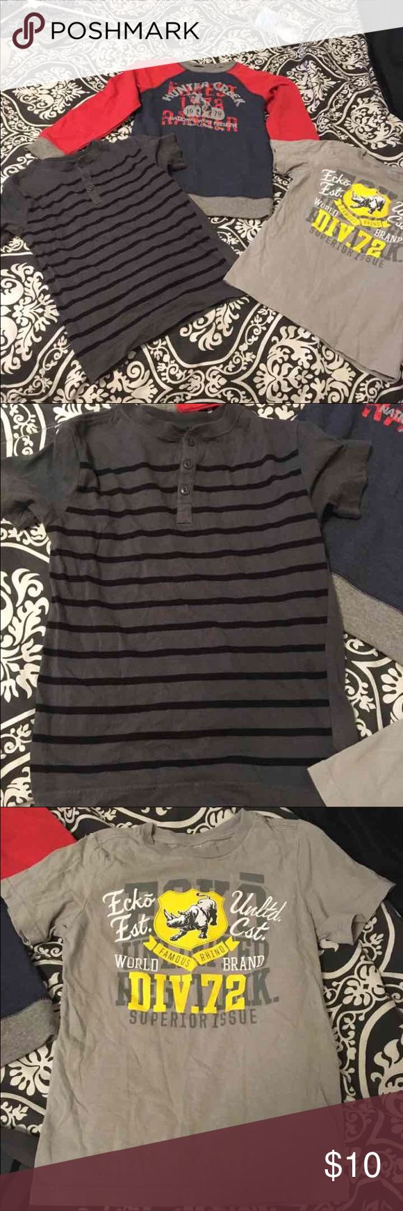 Boys bundle! 2 T-Shirts and 1 long sleeve. All are in excellent condition! Long sleeve never worn with out tags! All are a size 6/7 besides the light gray that is a 6. Brands are Ecko, old navy & Route 66 Old Navy Shirts & Tops Tees - Short Sleeve