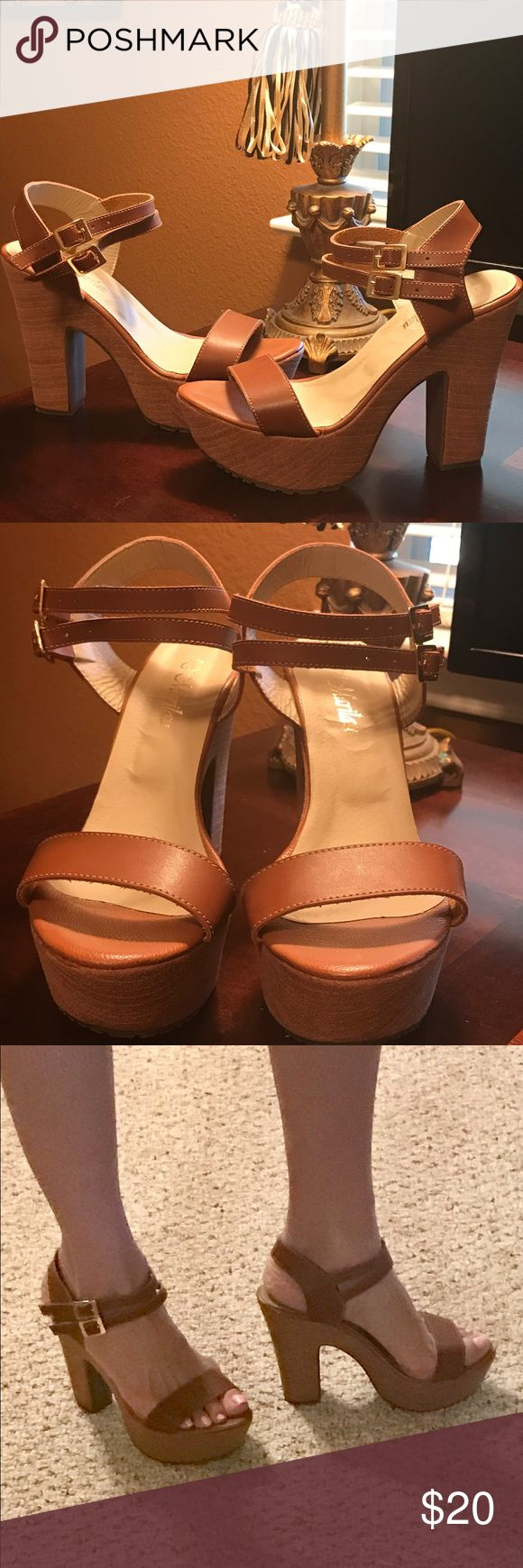 "High Heel Sandals in a camel color 5"" heel, 2"" platform sandals in a camel color. Never worn. In excellent condition. D' Marilau Shoes Sandals"