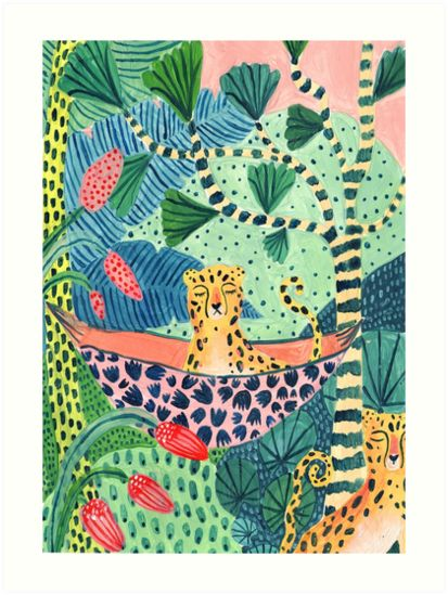 'Jungle Leopard Family!' Art Print by Amber Davenport