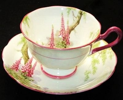 4:00 Tea...Royal Albert...Foxglove pattern, rare footed teacup and saucer with pink trim