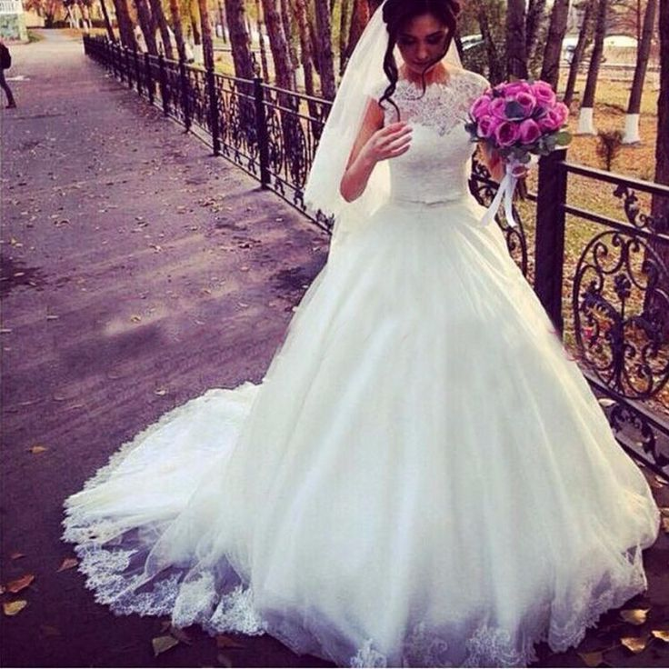 >> Click to Buy << weddingdress Tulle Applique Lace Beaded O Neck Ball Gown Pregnant Wedding Dresses 2016 Vestidos De Novia Baratos GD48 #Affiliate