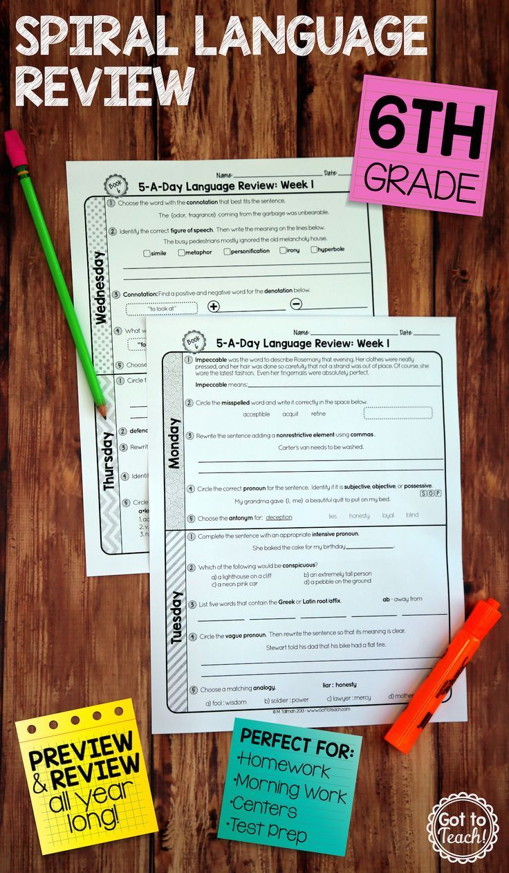 36 weeks of daily Common Core language review for sixth grade! Preview and Review important 6th grade language skills all year long! Perfect for homework, morning work, or test prep! 5-A-Day: 5 tasks a day, M-Th. CCSS L.6.1-L.6.6. Available for 3rd - 8th grades! $