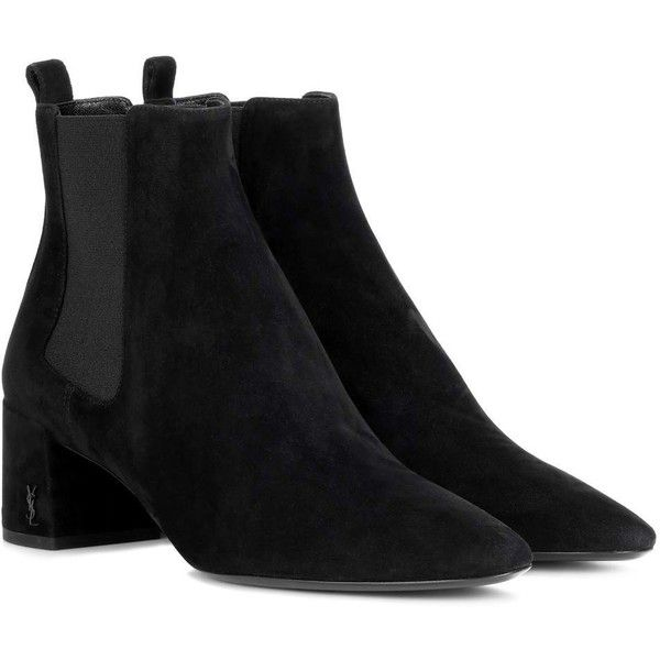 Saint Laurent Loulou 50 Suede Chelsea Boots ($965) ❤ liked on Polyvore featuring shoes, boots, ankle booties, ankle boots, black, mid-heel, beatle boots, black shoes, suede leather boots and chelsea boots