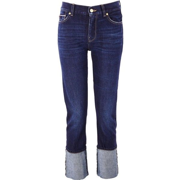 7 For All Mankind Roll Up Straight Legs Jeans With Turn Up Hem ($290) ❤ liked on Polyvore featuring jeans, 7 for all mankind, blue jeans, rolled up jeans, straight leg jeans and straight-leg jeans