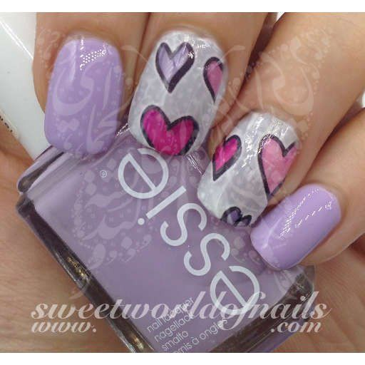Valentine's Day Nail Art Water Slides Purple and Pink Hearts Water Decals