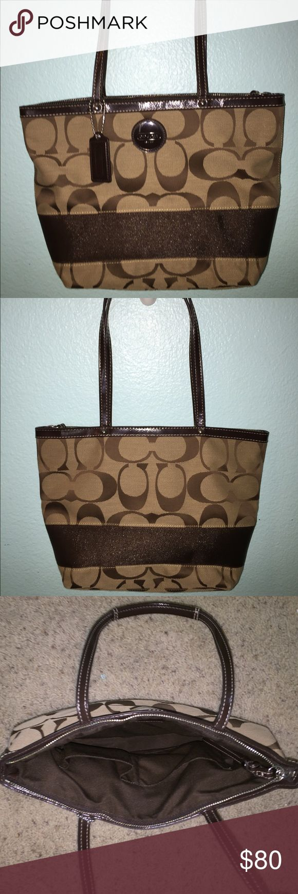 Coach Medium Tote Purse warm brown with dark brown accents. multiple pockets on the inside including a zipper pocket. looks new. only used a few times with no marks Coach Bags Totes