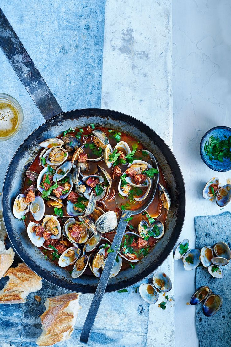 This recipe for drunken clams with chroizo is low calorie and ready in just 20 minutes but packs in flavour – perfect for a midweek meal. Serve with crusty bread, more beer, and eat straight from the pan, if you like