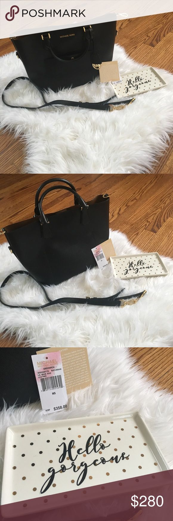 MKORS BLK/LUGGAGE LG LEATHER BAG NWOT❤️ NWOT never wear I don't have the bag only what you see in the picture bag and shoulder strap. Invest in an American staple with this Greenwich tote from  Michael Kors. Loaded with gold-toned branding and Saffiano leather, it makes a loud yet refined statement. Coupled with a variety of pockets, it merges practicality and celebrated style. (Height 25.5cm, length 33cm, depth 17cm).Gold-toned hardware, front pocket, internal touch and zipped pocket…