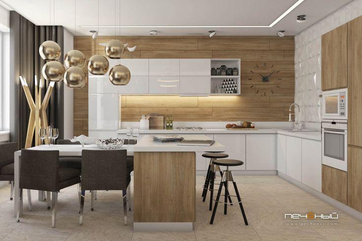 """Дизайн интерьера кухни в современном стиле в таунхаусе, загородном доме. Цвета: белый, бежевый, синий. Студия дизайна """"Печёный""""."""