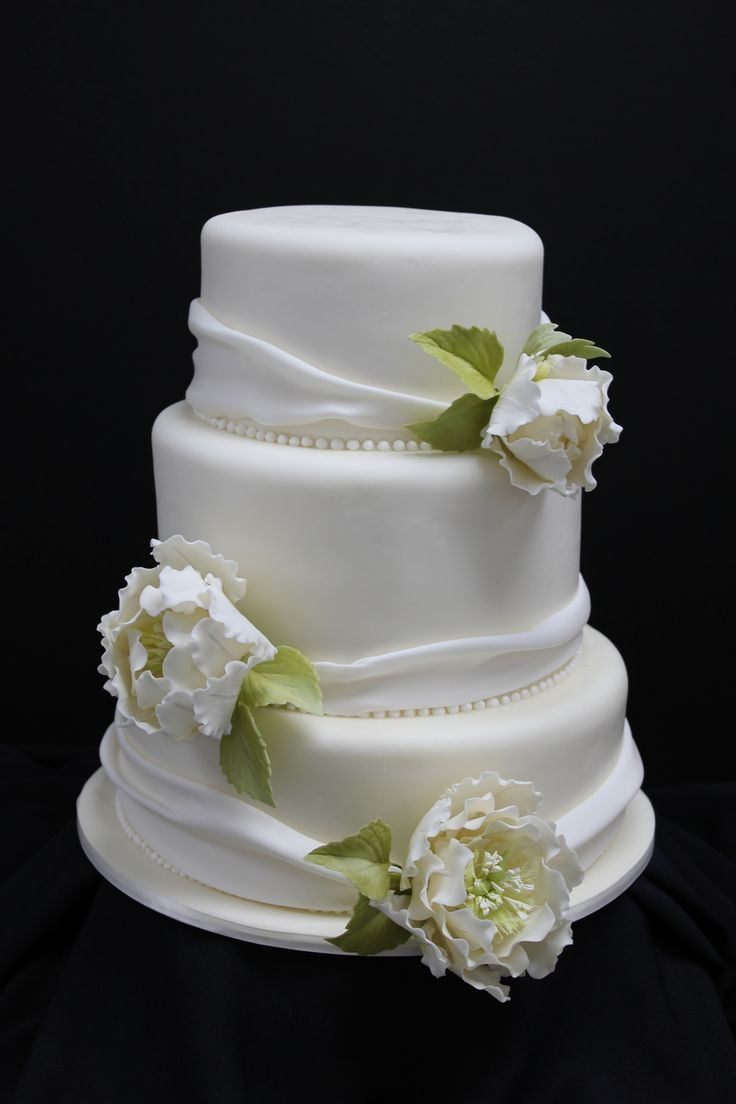 Wedding cake with Sugar Flower Peonies