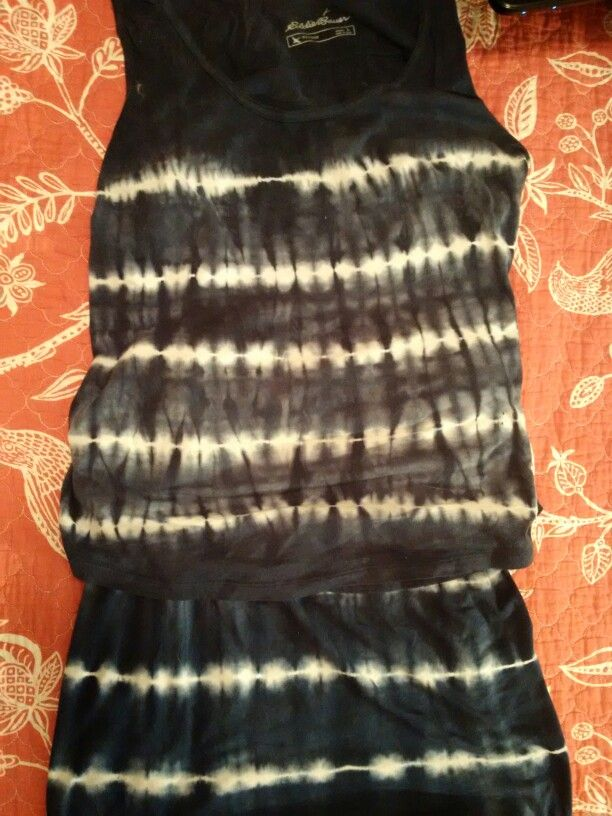 Blue White Tie Dye Shirt And Long Skirt Beach Vacation