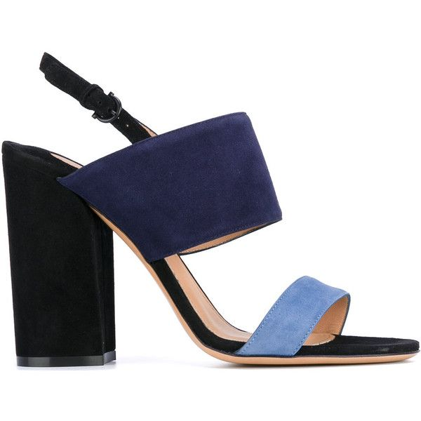 Salvatore Ferragamo open toe sandals (9.115 ARS) ❤ liked on Polyvore featuring shoes, sandals, heels, blue, ankle tie sandals, open toe sandals, blue block heel sandals, blue leather sandals and blue sandals