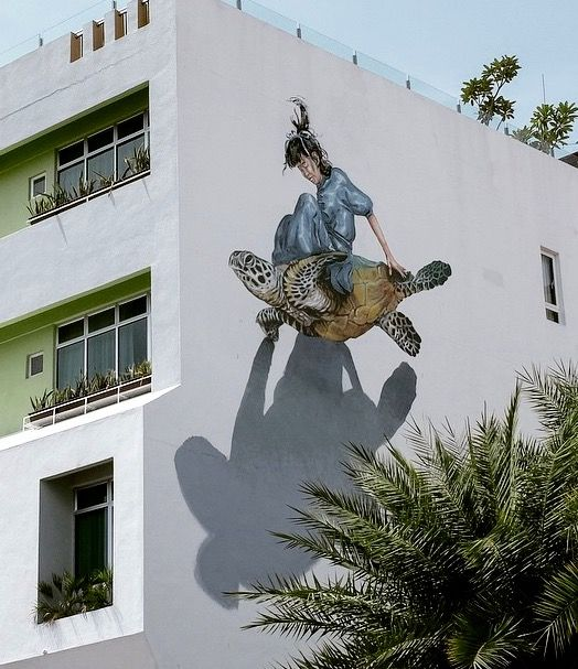 new by Martin Ron + Ernest Zacharevic in Penang, Malaysia, 3/15 (LP) I actually believed she was flying on a turtle!