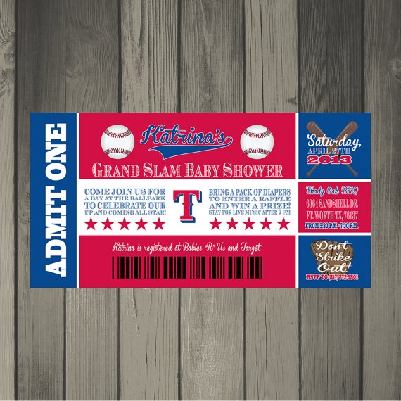 texas rangers baseball themed ticket style baby shower invitation via etsy