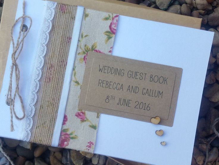 A5 Shabby Chic Vintage Rustic Wedding Guest Book/Album/Planner,Christening-Boxed