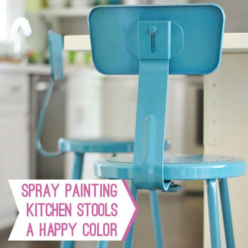 spray painting kitchen stools: Paintings Techniques, Old House, Counters Stools, Young House Love, Sprays Paintings, Spray Painting, Bar Stools, Painting Technique, Kitchens Stools