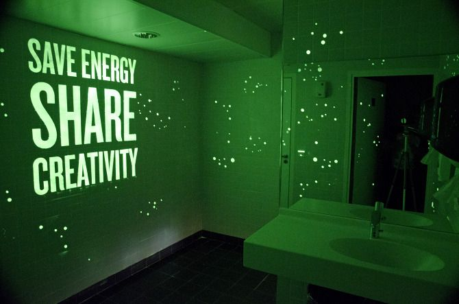 Glow in the dark paint on walls, perfect for the bathroom so you don't have to turn on the light