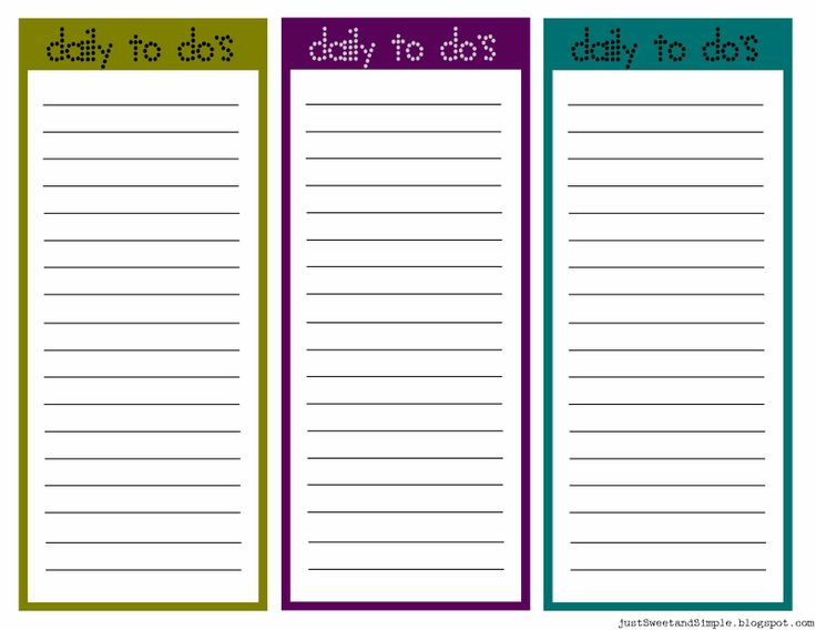 50 best Brainstormsheets images on Pinterest Free printable - free printable daily to do list template