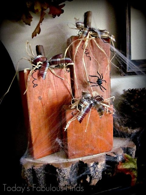 DIY {Spooky} 2x4 Pumpkins- Take the spider and web off after Halloween and they can go through fall!