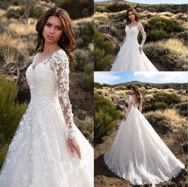 Sexy V Neck Backless A Line Sheer Lace Applique Long Sleeve Bridal Wedding Dress Classic Wedding Gowns