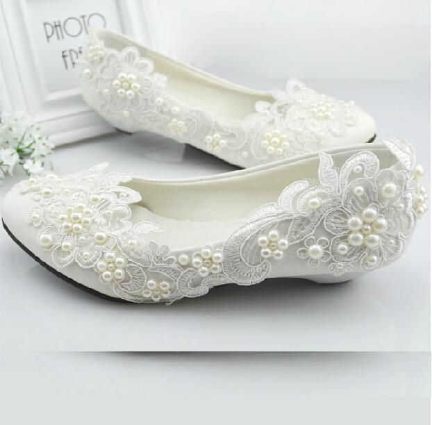 lace pearl flat wedding shoes - Google Search