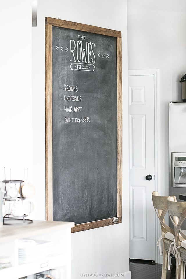 Awesome Oversized Chalkboard! Hanging in a kitchen, use for menu planning, reminders, grocery list and more. livelaughrowe.com