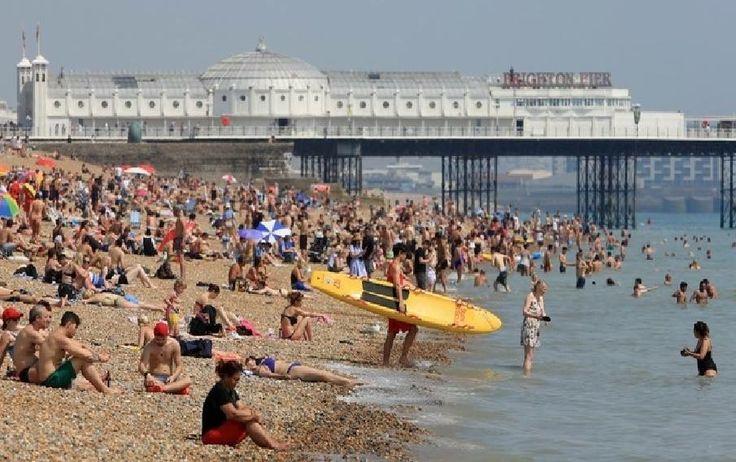 Brighton Beach Brighton East Sussex England in the Heatwave of June 2017