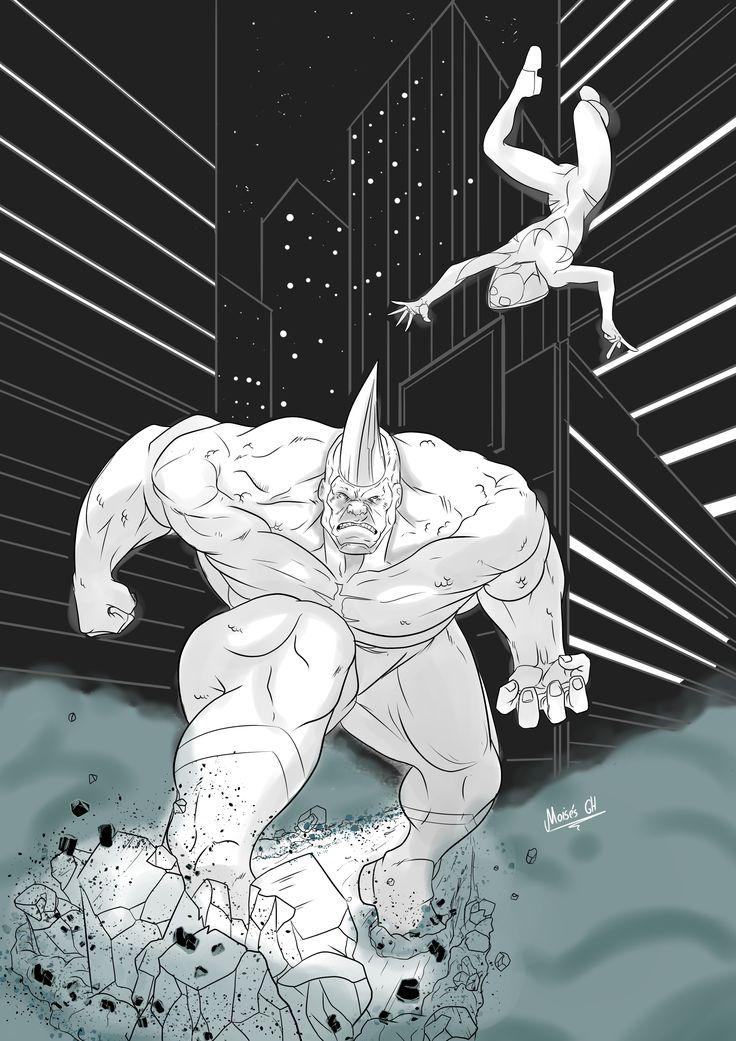 dibujo echo en clip studio, spidergwen vs rhino, esta algo a medias pero es practica solamente
