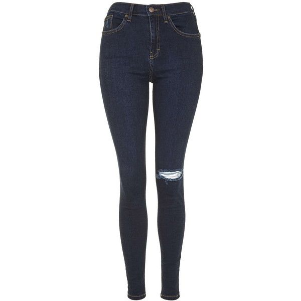 TopShop Petite Moto Dark Ink Rip Jamie ($60) ❤ liked on Polyvore featuring jeans, pants, bottoms, trousers, black, ink, petite, black distressed skinny jeans, destroyed skinny jeans and skinny ankle jeans