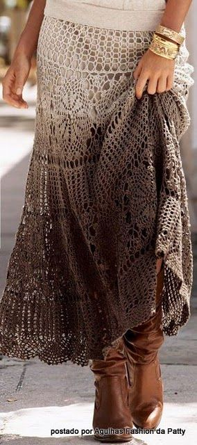 To Do: This is gorgeous! Tablecloth re make.: Idea, Dips Dyed, Pattern, Style, Long Skirts, Crochet Tablecloths, Crochet Skirts, Lace Skirts, Maxi Skirts