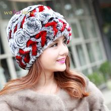 US $11.29 Women Genuine Knitted Rex Rabbit Fur Hats Natural Stripe Rex Rabbit Fur Caps Lady Winter Warm Real Rabbit Fur Beanies Headwear. Aliexpress product