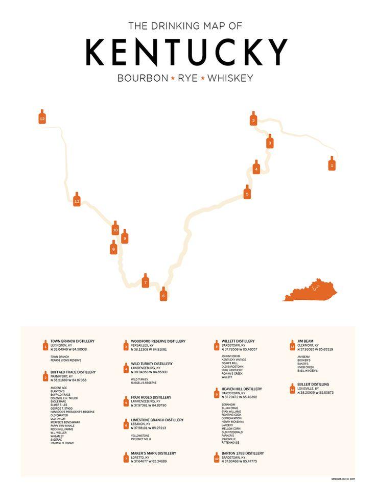 Kentucky bourbon trail map print in 2020 bourbon