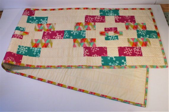 Quilted Modern Table Runner: Winter Charisma by KingfisherCraftCo