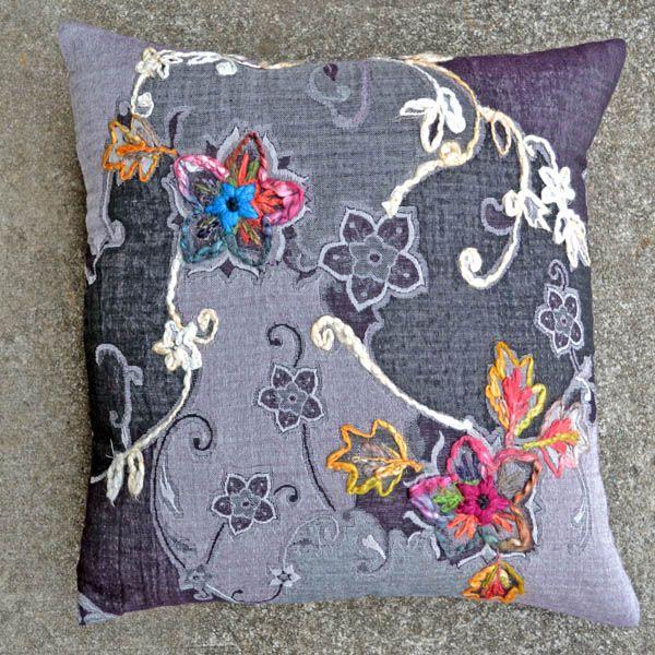 Chloe-Black 20x20 Embroidered Pillow [#2086]  : Goemdee