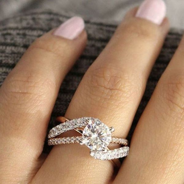 Exquisite 925 Sterling Silver Ring Two Tone 14k Platinum Round