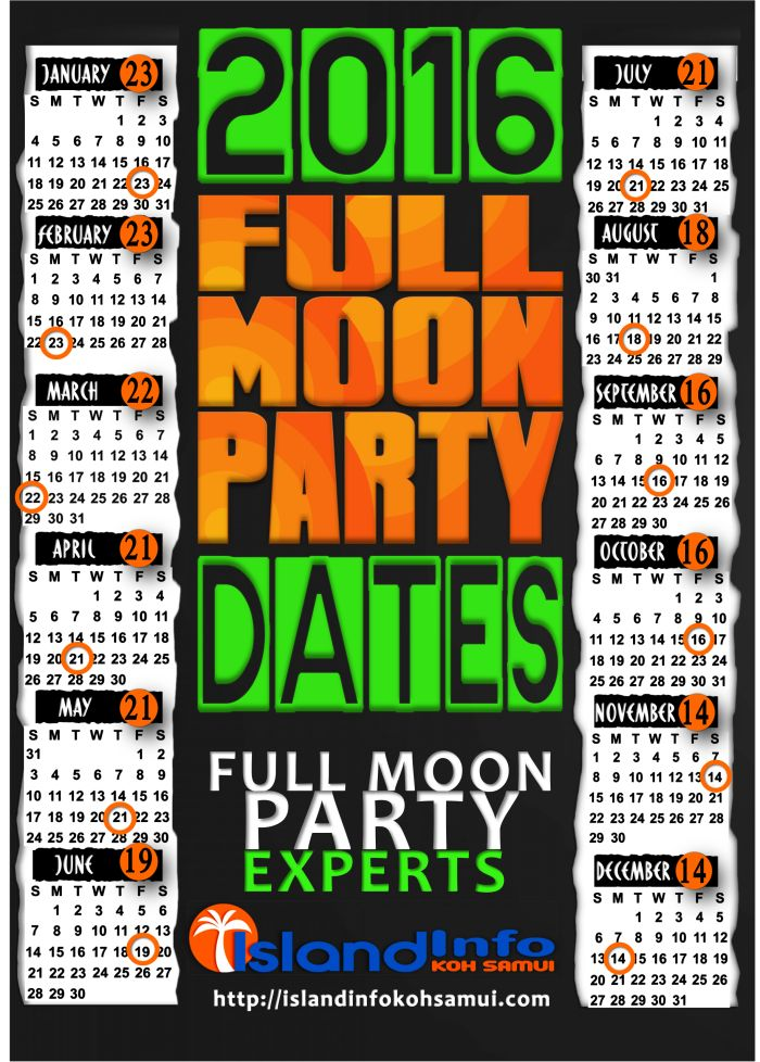 full moon party dates 2016
