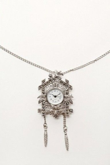 Rare Silver Tone Cuckoo Clock Necklace One Size #Unbranded #Pendant